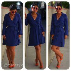 Todays Look: Keepin It Classy w/ Navy Dress + Orange Heels #Forever21