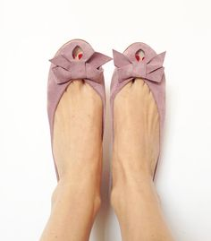 Ballet Flats Shoes Handmade Old Pink Leather Peep by elehandmade