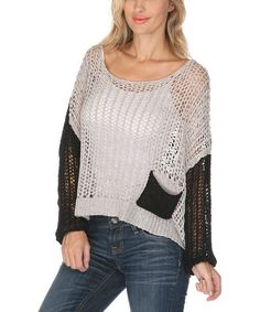 Gray & Black Color Block Loose-Knit Scoop Neck Sweater