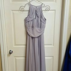Silver chifon long dress - new sample dreaa Long silver dress with opening in middle and back. Dessy group Dresses Wedding
