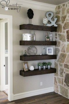 Excellent How to build simple floating shelves. – for living room wall between fireplace & master The post How to build simple floating shelves. – for living room wall between fireplace &… appeared first on Derez Decor . My Living Room, Home And Living, Shelf Ideas For Living Room, Modern Living, Living Room Ideas With Fireplace And Tv, Stone Wall Living Room, Cozy Living, Modern Family, Kitchen Living