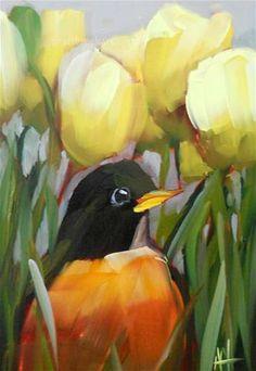 """""""Robin in the Tulips"""" - Original Fine Art for Sale - © Angela Moulton"""