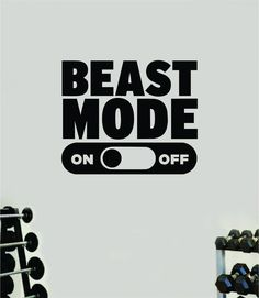 Beast Mode On V3 Wall Decal Home Decor Bedroom Room Vinyl Sticker Art Teen Work Out Quote Beast Gym Fitness Lift Strong Inspirational Motivational Health School - yellow