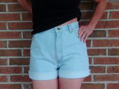 High Waisted  Denim Shorts Wrangler  Light Wash Faded Vintage Hipster Boho Indie - Size M/L