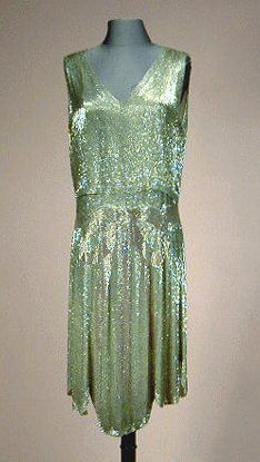 Lanvin Shimmering Silver Beaded Chemise 1929 Two-piece, sewn overall with minute silver bugle beads, the skirt woven with signature pink ti. 20s Fashion, Fashion History, Art Deco Fashion, Vintage Fashion, Fashion Tips, Jeanne Lanvin, Vestidos Vintage, Vintage Gowns, Vintage Clothing