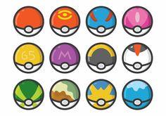 Pokemon Conjunto Poke bola con diferentes diseños.