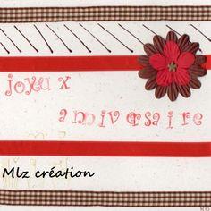 Carte anniversaire, coloris rouge, marron et blanc