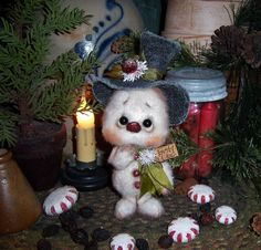 Primitive Frosty Snowflake Christmas Ornament Snowman Doll Patti's Ratties. Oh my gosh he is so adorable