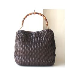 Gucci Bag Brown Leather Woven Bamboo vintage authentic tote handbag purse rare by hfvin on Etsy  #gucci #woven #bamboo #brown #rare #tote #handbag #authentic #vintage #hfvin