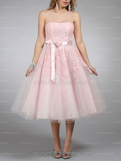 A-line Bateau Tulle Tea-length Pink Prom Dresses With Sash