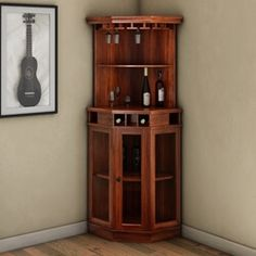Solid Wood Corner Liquor Cabinet With Glass Doors Griffin Glass Door Solid Rosewood Corner Wine Bar Cabinet Corner Liquor Cabinet, Corner Wine Bar, Wine Bar Cabinet, Glass Cabinet Doors, Wine Cabinets, Glass Shelves, Glass Doors, Small Bar Cabinet, Cabinet Storage