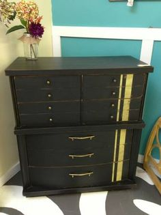 Antique custom refinished dresser black - like the additional accent instead of just straight black.