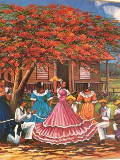 Fiesta jíbara bajo el flamboyán