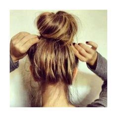 messy bun Hairstyles for Long Hair ❤ liked on Polyvore featuring beauty products, haircare, hair styling tools, hair and hairstyles