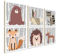Woodland Nursery Animals Decor Woodland Creatures Forest Wall Decor Nursery Animals Large Nursery Wall Art Wood