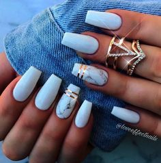 Related posts: 24 Beautiful Coffin Nail Designs Ideas 65 Popular Gel Glitter Coffin Nail Designs 43 Beautiful Nail Art Designs for Coffin Nails 35 Cool Acrylic Coffin Nail Designs You Need to Copy Immediately White Acrylic Nails, Summer Acrylic Nails, Best Acrylic Nails, Matte White Nails, Fake Nails White, Acrylic Nail Art, Black Marble Nails, White Summer Nails, Matte Nail Art