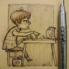 """""""... You aren't playing fair."""" #ron playing chess with #pigwidgeon.  Goodnight everyone!  #art #artist #ronweasley #pig #owl #sketch #sketchbook #cottonwoodarts #illustration #doodle #artwork #ink #pen #marker #copic # harrypotter #lollipop #chess #traditional #bird #food #sweater #weasley by roopiedoo"""