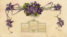 Lovely Vintage Frame of Violets Calendar Image