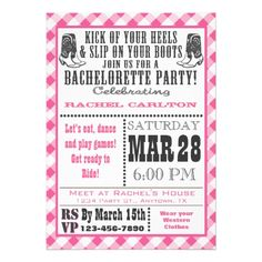Pink Gingham Cowgirl Bachelorette Party Invitation