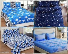 Bedsheets Fashionable Polycotton Double Bedsheets Combo (Pack Of 4) Fabric: Polycotton No. Of Pillow Covers: 2 Thread Count: 160 Multipack: Pack Of 4 Sizes: Queen (Length Size: 100 in Width Size: 90 in Pillow Length Size: 27 in Pillow Width Size: 17 in) Country of Origin: India Sizes Available: Queen   Catalog Rating: ★4.1 (14587)  Catalog Name: Trendy Polycotton 90x90 Double Bedsheets Vol 13 CatalogID_583559 C53-SC1101 Code: 018-4103665-7212
