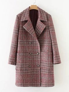To find out about the Double Breasted Check Coat at SHEIN, part of our latest Outerwear ready to shop online today! Mode Mantel, Plaid Coat, Red Plaid, Wool Coat, Check Coat, Double Breasted Coat, Single Breasted, Winter Coat, Fall Winter