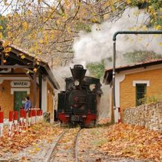 ".milia train station in mt. pelion  Greece. the nickname of this train is ""moutzouris"" starting from "" milia''  and ending to ''ano lechonia"" .the view from this train to the aegean sea is great ."