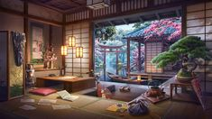 Fantasy Art Landscapes, Fantasy Landscape, Scenery Wallpaper, Galaxy Wallpaper, Theme Animation, Japan Room, Episode Interactive Backgrounds, Traditional Japanese House, Anime Places