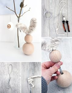 Do it yoursel: Osterhase aus Holzkugeln selbst basteln DIY Ostern Osterhase Holz Draht The post Do it yoursel: Osterhase aus Holzkugeln selbst basteln appeared first on Holz ideen. Happy Easter, Easter Bunny, Easter Eggs, Bead Crafts, Diy And Crafts, Cork Crafts, Wooden Crafts, Diy Tumblr, Diy Ostern