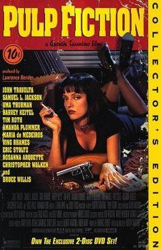 Pulp Fiction 1994 Movie Poster 27x40 Used Collectors Edition Rare Quentin Tarantino Film, Uma Thurman, Bruce Willis, Eric Stoltz, Christopher Walken
