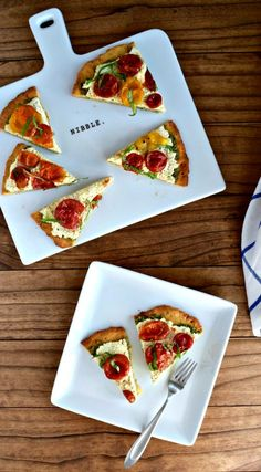 Tomato Tart recipe | This gluten-free, paleo tomato tart is a delicious and healthy appetizer that's pretty enough for a party. A paleo tart crust is layered with dairy-free pesto, vegan lemon ricotta cheese, and topped with roasted tomatoes and fresh basil.