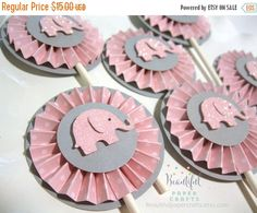 Sale Pink and Gray Elephant Cupcake by BeautifulPaperCrafts