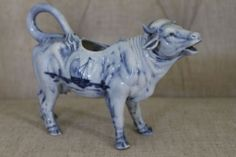 Antique Vintage COW BULL CREAMER DELFT PORCELAIN Flow Blue White Ships Windmill