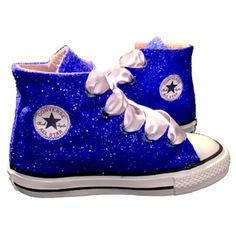 6d53c47a63d84 Kids Sparkly Glitter Converse All Stars Bling Crystals Flower Girls  birthday Shoes Blue