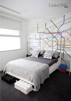 Lego, Subway map, grey bedding, typo pillows!! *faints*