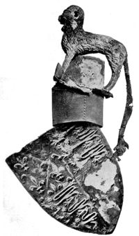 Cap of Maintenance - Wikipedia, the free encyclopedia.     Shield, helm and crest ofEdward, the Black Prince(d. 1376) from his tomb inCanterbury Cathedral. Between the lion crest and the helm is a Cap of Maintenance, now almost entirely decayed