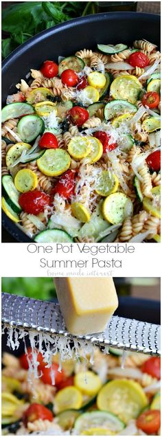 This One Pot Summer Vegetable Pasta is a quick and easy summer dinner recipe that uses fresh summer vegetables like tomatoes, summer squash and zucchini. The pasta cooks with the vegetables in one pot for easy clean up so you have more time to spend on su Vegetarian Recipes, Cooking Recipes, Healthy Recipes, Vegetable Pasta Recipes, Vegetable Ideas, Tomato Vegetable, Fettucine Alfredo, Easy Summer Dinners, Comida Keto