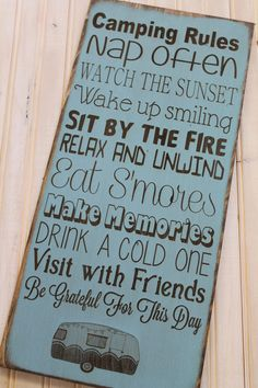 Camping Rules Sign Custom decor rustic personalized by Wildoaks