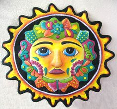 Sun  Hand Painted Metal 34 Sun Wall Hanging  Eco por TropicAccents