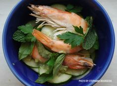 Champagne-poached prawns with Spicy Cucumber Salad and Green Curry–Coconut Sauce.  #recipe