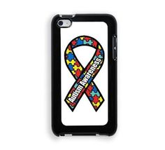 Autism Awareness Ribbon Protective Designer Snap-On Case - Fits Apple iPod Touch 4