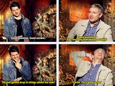 The ever sassy, ever classy, Martin Freeman! And his sidekick in sass, the interviewer Olan Rogers.