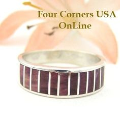 Four Corners USA Online - Purple Spiny Oyster Inlay Band Ring Size 7 1/4 Native American Ella Cowboy Silver Jewelry WB-1448, $109.00 (http://stores.fourcornersusaonline.com/purple-spiny-oyster-inlay-band-ring-size-7-1-4-native-american-ella-cowboy-silver-jewelry-wb-1448/)