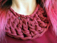 Jewellery+crochet | Tshirt yarn jewellery | Crochet and knit