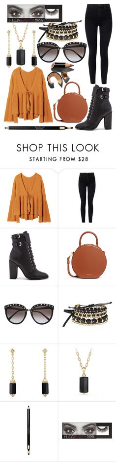 """Shopper's delight"" by georginadent ❤ liked on Polyvore featuring J Brand, Schutz, Mansur Gavriel, Avon, David Yurman, Clarins, Huda Beauty and Bobbi Brown Cosmetics"