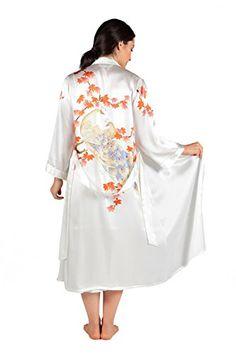 b7235c7a8c TexereSilk Women s Silk Nightgown Robe Set - Lux Sleep Set (Royal Peacocks