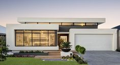 Mod - 9 Barakee Road, Wandi - Summit Homes Flat Roof House, Facade House, House Front, Modern House Facades, Modern House Plans, Modern House Design, Modern Floor Plans, Modern Exterior, Exterior Design