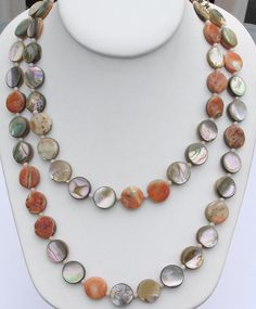 "Vintage Natural Abalone Shell Beach Disc Polished Coin 39"" Necklace #Unbranded #Beach"