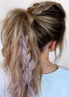 ponytail + fishtail braid / #hairstyles #beauty