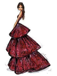Inspired by Zendaya in a wine colored tiered Marchesa gown, Golden Globes 2016 — Anum Tariq Illustrations