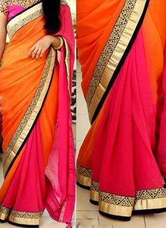 Orange Pink Embroidery Work Georgette Silk Designer Sarees http://www.angelnx.com/Sarees/Designer-Sarees